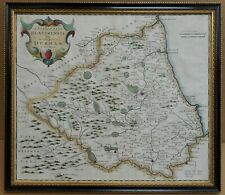 Durham County Map. Original 17th Century Copperplate Map, Robert Morden 1695