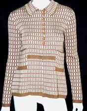 PRADA Camel & Purple Check Silk Chunky Knit Sweatercoat 40