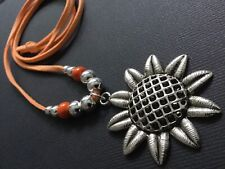 ORANGE And Silver Long Suede Statement SUNFLOWER NECKLACE Boho Lagenlook Tibet
