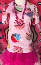 Women's Sugar CUPCAKE shirt Pink frosting junk food baking johnny SZ S Adult