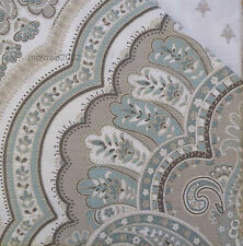 Nicole Miller TEAL Blue TAUPE Woven Full QUEEN DUVET COVER SET Medallion Cotton