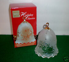 """Mikasa Holiday Classics Frosted Crystal Bell """"Santa in Sled & 8 Reindeers"""" MIB"""