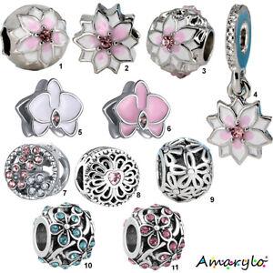 1 perle charms pour bracelet serpent européen - FLEURS - 11 modèles