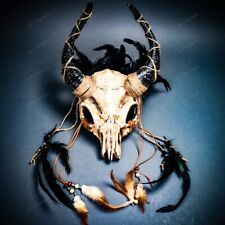 Antelope Animal Skull Horn Mask w/ Feather For Men Women Halloween Costume Party