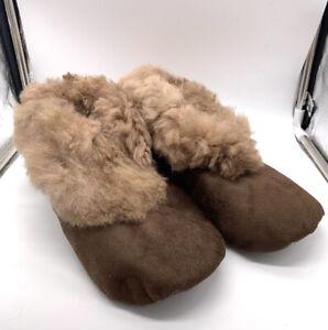 "Handmade Peruvian Unisex Baby Alpaca Leather Slippers Booties""Brown""Choose Size"
