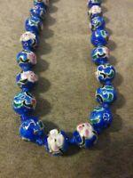 """Vtg Asian Cobolt Blue Cloisonne Enamel Knotted Flower 1/2"""" Bead Necklace 24"""""""