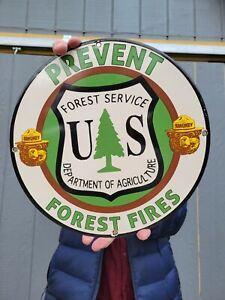 OLD VINTAGE SMOKEY THE BEAR PORCELAIN SIGN PREVENT WILDFIRES FOREST FIRE TREES