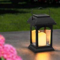 UK Solar Powered LED Flickering Candle Lantern Waterproof Hanging Outdoor Garden