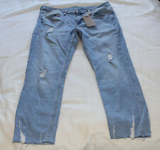 Zara Basic Z1975 Ladies Denim Distressed Mid Rise Cropped Jeans Size 42  / UK 14