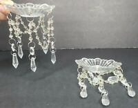 2 Crystal Prism Dangle Glass Bobeches Wax Drip Protector Victorian Trading Co.