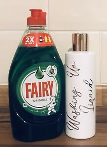 Personalised Soap Bottle Dispenser with Silver Cap. 250ml Washing Up