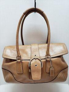 Coach Tan Leather Soho Hampton Satchel Shoulder Bag 9550 Buckle Front