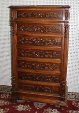 Antique Carved Country French Walnut Marble Top 5' Tall Chest Cabinet Louis XVI