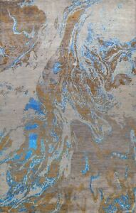 Abstract Vegetable Dye Wool Silk Oriental Modern Area Rug Wool Hand-Knotted 9x12
