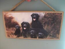 LAB DOG FAMILY  BLACK LAB'S   LOVE AND LAUGHTER  SIGN  decor wall hanging #1.X86