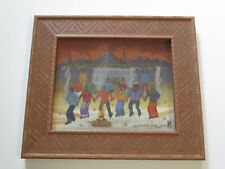 MICHAEL CHIAGO ORIGINAL PAINTING NATIVE AMERICAN INDIAN CAMP FIRE POW WOW DANCE