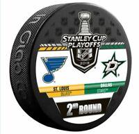 2019 STANLEY CUP PLAYOFFS HOCKEY PUCK 2ND ROUND DALLAS STARS ST. LOUIS BLUES NHL