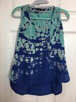 Gypsy Sz S Turquoise Blue Batik Silk Boho Hippie Tie Dye Festival Tank Top Cami