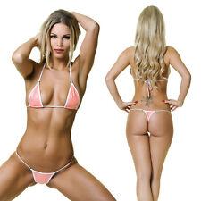 Micro Bikini Hologramm Lachs Weiss Neon unterfüttert Bikini Mini Cups String