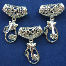 3 Pcs Silver Plated Bright Flower Pendant Bail Pinch Clasp Connector F0067210