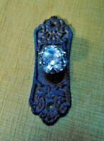 VTG STYLE DOOR PLATES GLASS KNOB CAST IRON BROWN HOOK HANDLE SHABBY VICTORIAN