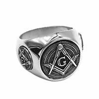 Siegelring Freimaurer Silber Ring Masonic Tempelritter Herrenring Illuminati
