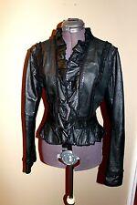 VTG style Ruffled Victorian Steampunk gothic 100% leather riding jacket coat SzS