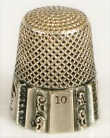 ANTIQUE STERLING SILVER SEWING THIMBLE ORNATE DETAILS SIZE 10 MARKED INSIDE !
