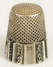 ANTIQUE STERLING SILVER SEWING THIMBLE ORNATE DETAILS SIZE 10 MARKED INSIDE