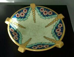 joli vide poche art déco ÉMAUX de LONGWY coupe céramique faïence fleurs