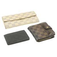 LOUIS VUITTON Damier Ebene Azur Infini Wallet Card Case 3Set LV Auth ar3155