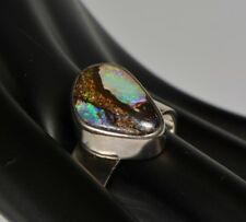 Australian Solid Boulder Opal, Opal Ring,Special ,Rainbow colour, Man or Woman