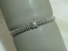 "Designer LAGOS S/S 6MM Diamond Pave' ""X"" Caviar Rope Bracelet, size 6 1/2"