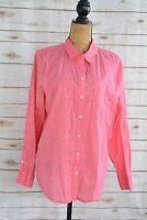 Liz Claiborne - Dark Pink floral long sleeve Cotton button front shirt, sz XL