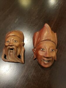 Fine Japanese Hand Carved Wood Antique Statue of 2