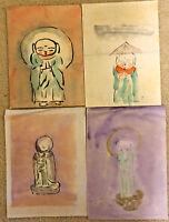4 Oriental watercolor paintings