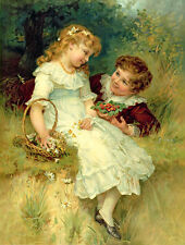 """HD Canvas Print Picture Oil Painting Girls and boys chat on canvas 12""""x16"""" L548"""