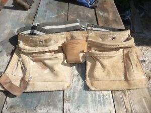 McGuire & Nicholas leather suede webbing tool belt many compartments pouches