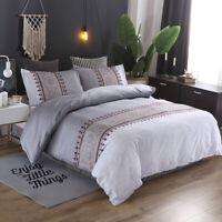 3pcs Flowers Gray Duvet Cover Set King Queen Size Bedding Set Pillow Case US