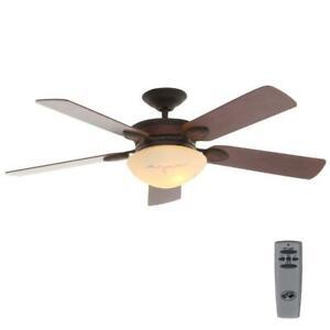 "Hampton Bay San Lorenzo 52"" Indoor Rustic Ceiling Fan w/Light Kit and Remote C."