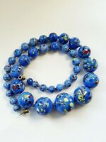 Art Deco Blue Venetian Glass Spatter Beaded Necklace 93gr