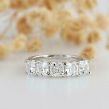 2.45 Ct Asscher Diamond Five Stone Men's Wedding Band Ring 14k White Gold