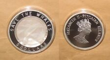 """2002 PITCAIRN ISLAND SAVE THE WHALES $5 Dollars Proof silver coin with shell """"RA"""