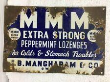 Original Old Vintage Enamel Porcelain Advertisement Sign Extra strong lozenges
