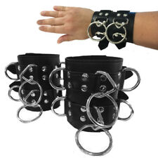 Pair Wide Black PU Leather Wrist Cuffs Bracelet Arm Binder O-Ring Punk Rock Goth