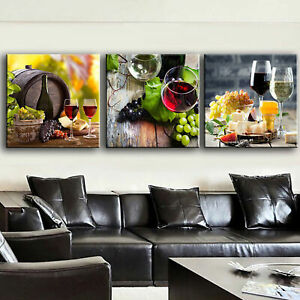 3pcs Modern Grape Wine Canvas Painting Wall Art Home Decor Picture Print Decor