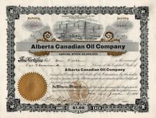 Alberta Canadian Oil Company Stock Certificate Issued in 1910