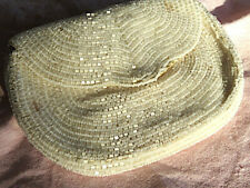 Vintage beaded clutch -Hand Made in Belgium w/original mirror and comb- 4x6