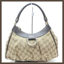 GUCCI HOBO D-RING BROWN GG CANVAS SHOULDER BAG WITH DUST BAG