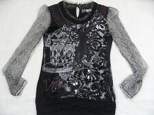 DESIGUAL tolles Langarmshirt schwarz grau Blusenärmel Gr. L TOP 619
